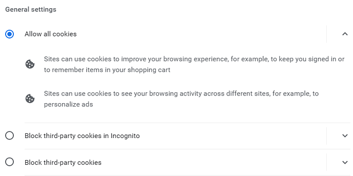 Chrome - Gen Settings Allow all cookies