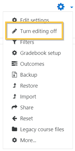 Click Turn Editing off - Moodle