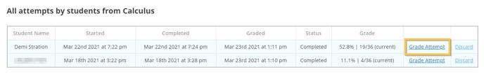 Grade attempts screen