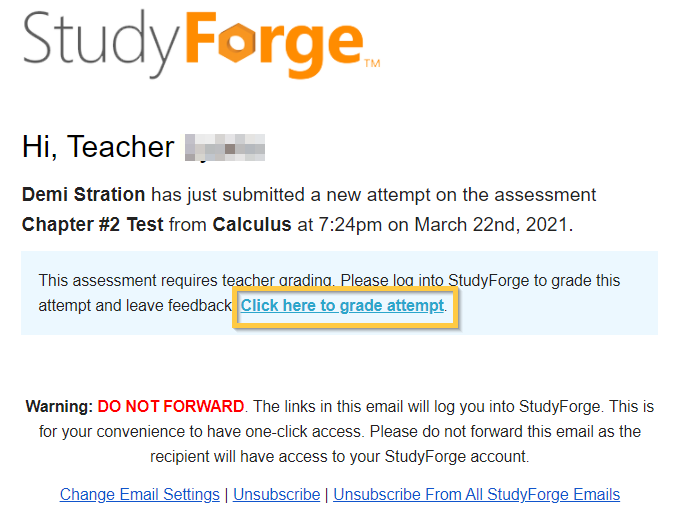 Student Submitted a New Attempt Email to Teacher